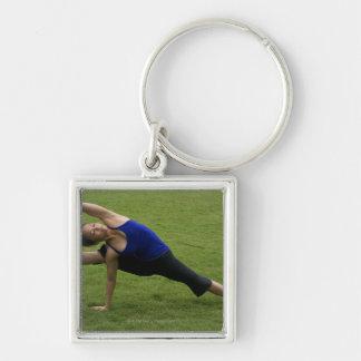 Asana yoga Silver-Colored square key ring