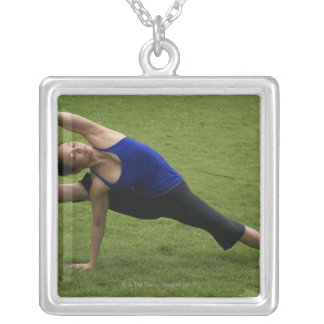 Asana yoga silver plated necklace