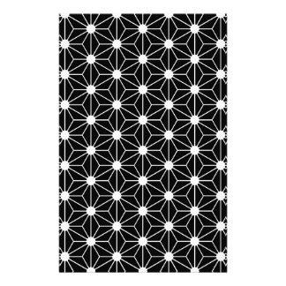Asanoha black leaf stationery paper