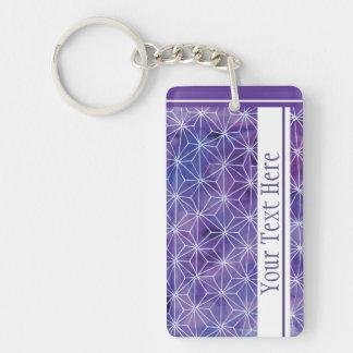 Asanoha Custom Text Single-Sided Rectangular Acrylic Key Ring