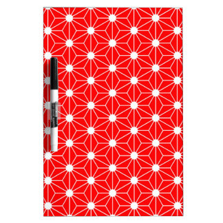 Asanoha leaf red dry erase boards