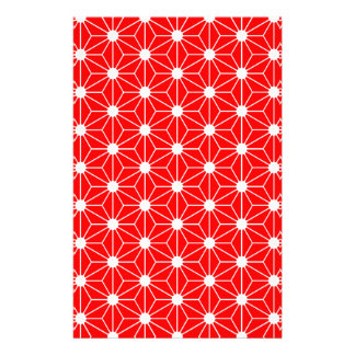 Asanoha leaf red stationery
