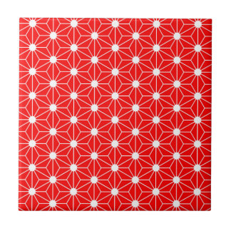 Asanoha leaf red tile
