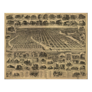 Asbury Park New Jersey 1897 Antique Panoramic Map Poster