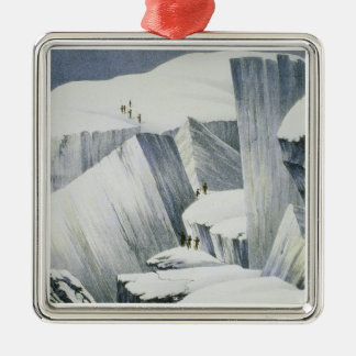 Ascending a Cliff, from 'A Narrative of an Ascent Christmas Ornament