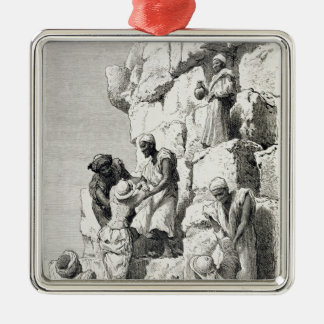 Ascent of the Great Pyramid, 19th century Silver-Colored Square Decoration
