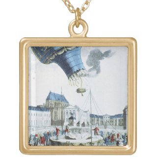 Ascent of the Montgolfier brothers hot-air balloon Gold Plated Necklace