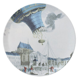 Ascent of the Montgolfier brothers hot-air balloon Party Plate