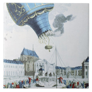 Ascent of the Montgolfier brothers hot-air balloon Tile