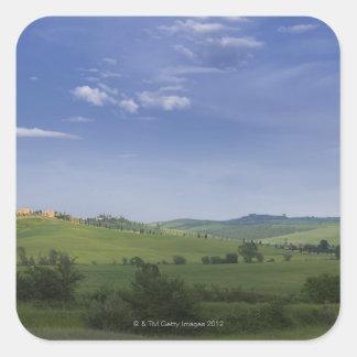Asciano, Crete Senesi, Siena Province, Tuscany, Square Sticker