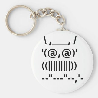 Ascii Art Owl Basic Round Button Key Ring