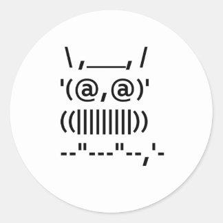 Ascii Art Owl Round Sticker