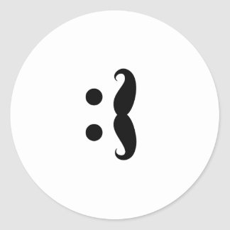 ascii mustache classic round sticker