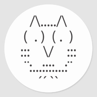 Ascii Owl Round Sticker