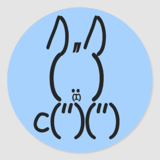 ASCII Rabbit Round Sticker