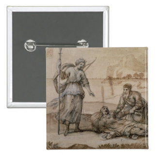 Asclepius Reviving Hippolytus (pen & ink, wash and 15 Cm Square Badge