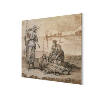 Asclepius Reviving Hippolytus (pen & ink, wash and Gallery Wrap Canvas