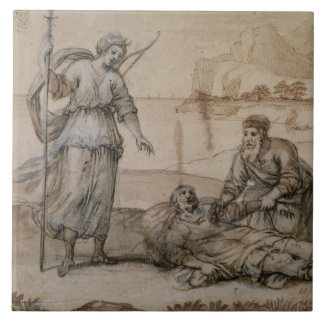 Asclepius Reviving Hippolytus (pen & ink, wash and Large Square Tile