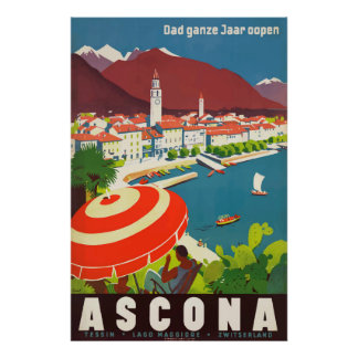 Ascona Switzerland Vintage Travel Poster