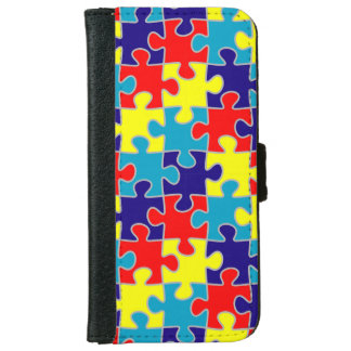 ASD Aspergers Autism Awareness Puzzle Pattern iPhone 6 Wallet Case