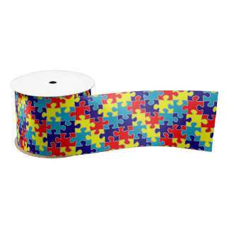 ASD Aspergers Autism Awareness Puzzle Pattern Satin Ribbon