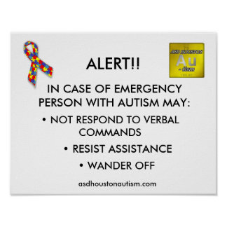 "ASD Houston Autism ""ALERT"" Poster"
