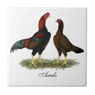 Aseel Black Red Chickens Tile