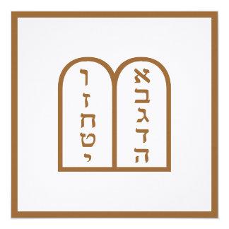 Aseret ha Dibrot 13 Cm X 13 Cm Square Invitation Card