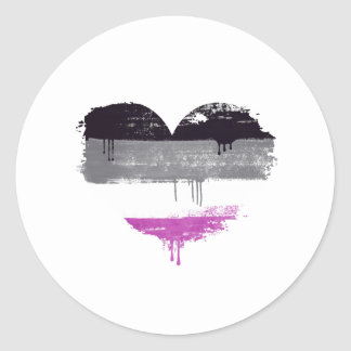 ASEXUAL HEART - ASEXUAL LOVE - CLASSIC ROUND STICKER