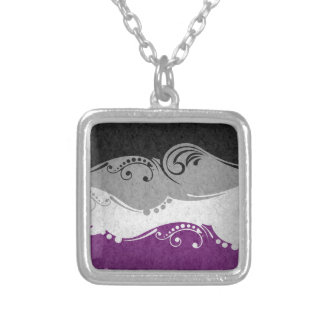 Asexual Ornamental Flag Silver Plated Necklace