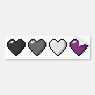 Asexual Pixel Hearts Bumper Sticker