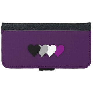 Asexuality pride hearts iPhone 6 wallet case