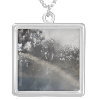 Ash and steam continue billowing silver plated necklace