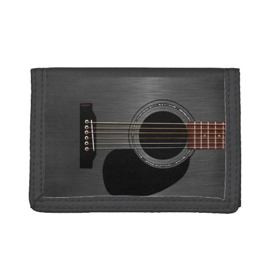 Ash Black Acoustic Guitar Tri-fold Wallet