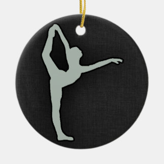 Ash Gray Ballet Dancer Round Ceramic Decoration