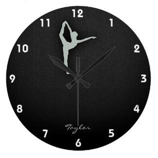 Ash Gray Ballet Dancer Large Clock