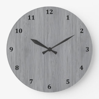 Ash Gray Bamboo Wood Grain Look Large Clock