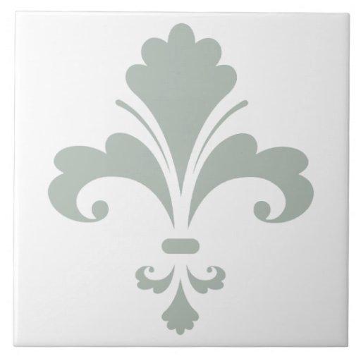 Ash Gray Fleur de lis Ceramic Tile