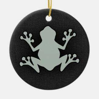 Ash Gray Frog Round Ceramic Decoration