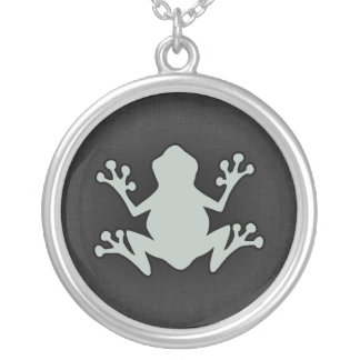 Ash Gray Frog Round Pendant Necklace