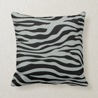 Ash Gray; Grey and Black Zebra Animal Print Cushion