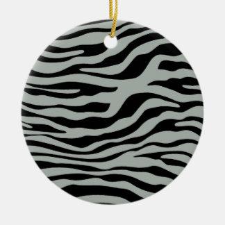 Ash Gray Grey and Black Zebra Animal Print Ornament