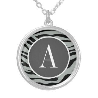 Ash Gray Grey and Black Zebra Animal Print Necklaces