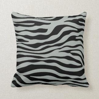 Ash Gray; Grey and Black Zebra Animal Print Throw Pillow