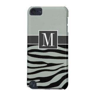 Ash Gray; Grey and Black Zebra Stripes; Monogram iPod Touch (5th Generation) Case