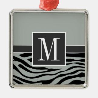 Ash Gray Grey and Black Zebra Stripes Monogram Christmas Ornament