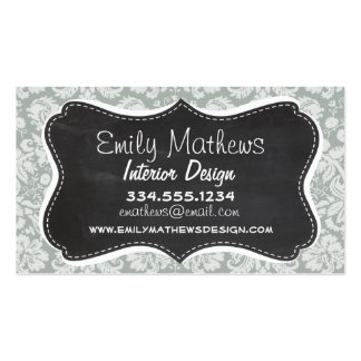 Ash Gray; Grey Damask Pattern; Chalkboard look Pack Of Standard Business Cards