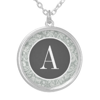 Ash Gray Grey Damask Pattern Personalized Necklace