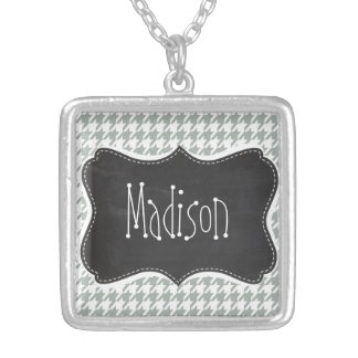 Ash Gray Grey Houndstooth Retro Chalkboard Pendant