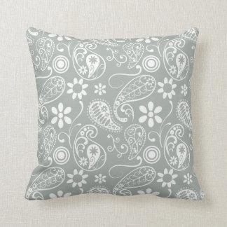 Ash Gray; Grey Paisley Cushion